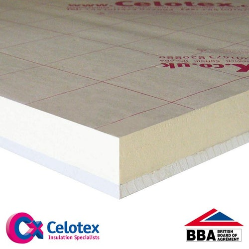 Insulated Plasterboard from Celotex PL4050 - 2.4m x 1.2m x 62.5mm
